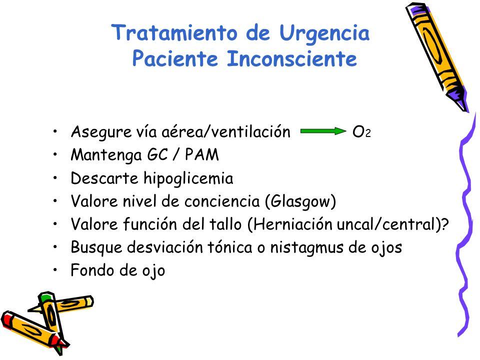 Tratamiento de Urgencia Paciente Inconsciente Asegure vía aérea/ventilación O 2 Mantenga GC / PAM Descarte hipoglicemia Valore nivel de conciencia (Glasgow) Valore función del tallo (Herniación uncal/central).