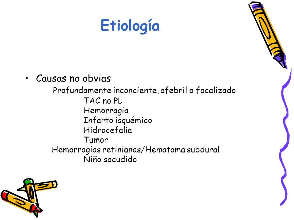 Etiología Causas no obvias Profundamente inconciente, afebril o focalizado TAC no PL Hemorragia Infarto isquémico Hidrocefalia Tumor Hemorragias retinianas/Hematoma subdural Niño sacudido