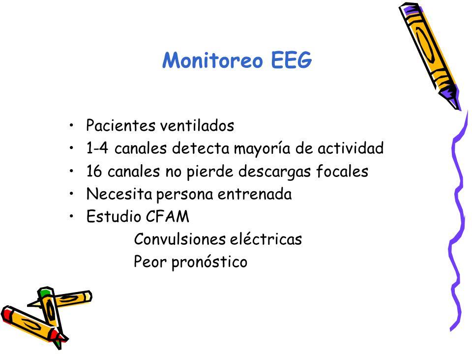 Monitoreo EEG Pacientes ventilados 1-4 canales detecta mayoría de actividad 16 canales no pierde descargas focales Necesita persona entrenada Estudio CFAM Convulsiones eléctricas Peor pronóstico