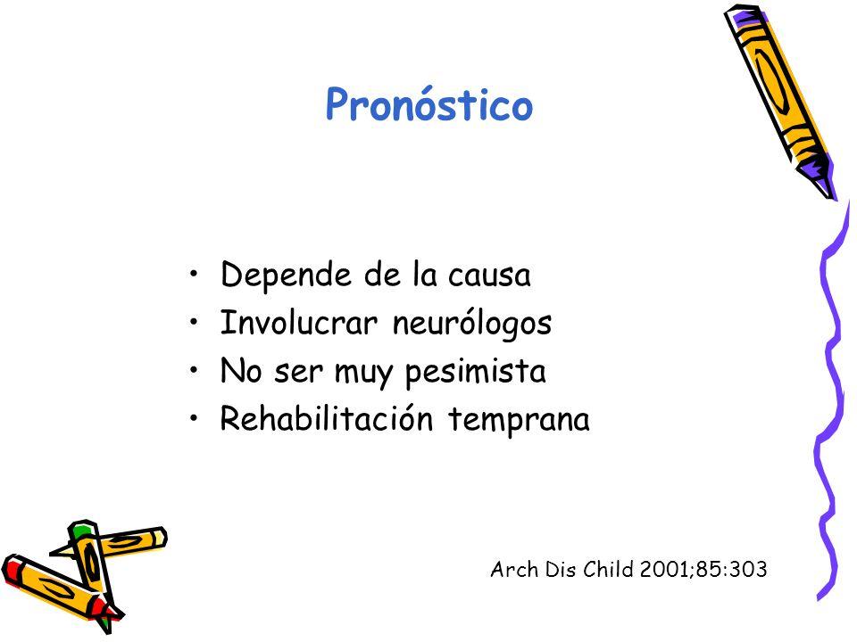 Pronóstico Depende de la causa Involucrar neurólogos No ser muy pesimista Rehabilitación temprana Arch Dis Child 2001;85:303