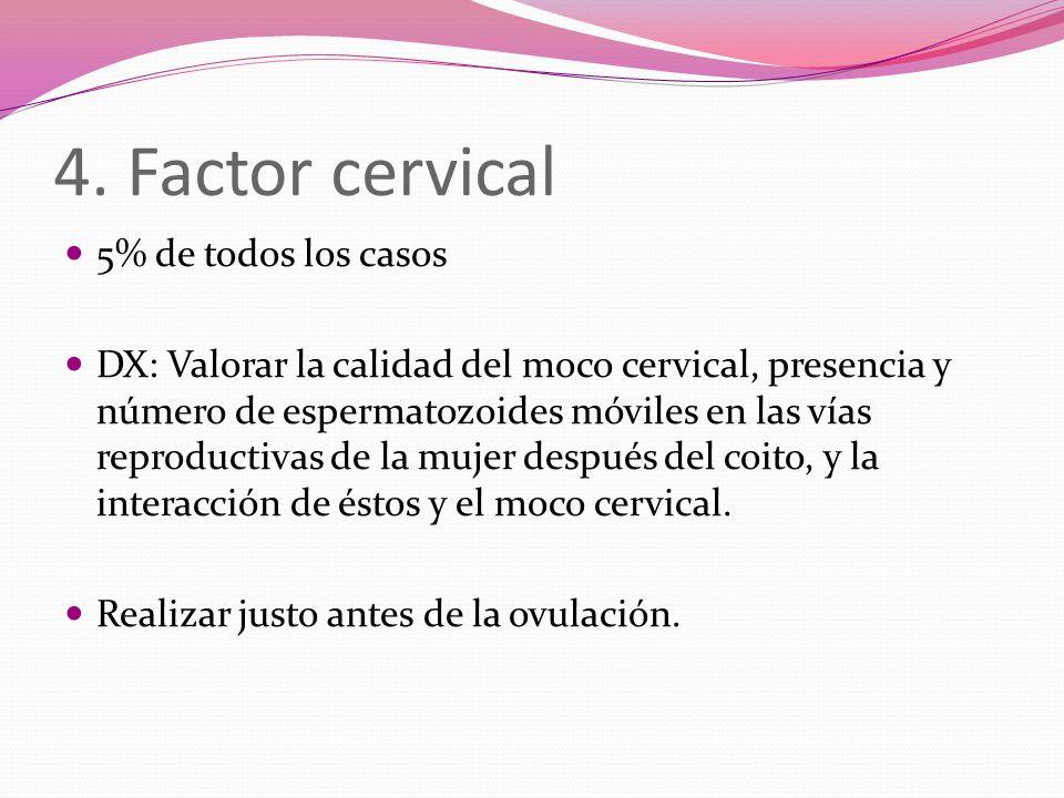 4. Factor cervical 5% de todos los casos DX: Valorar la calidad del moco cervical, presencia y número de espermatozoides móviles en las vías reproduct