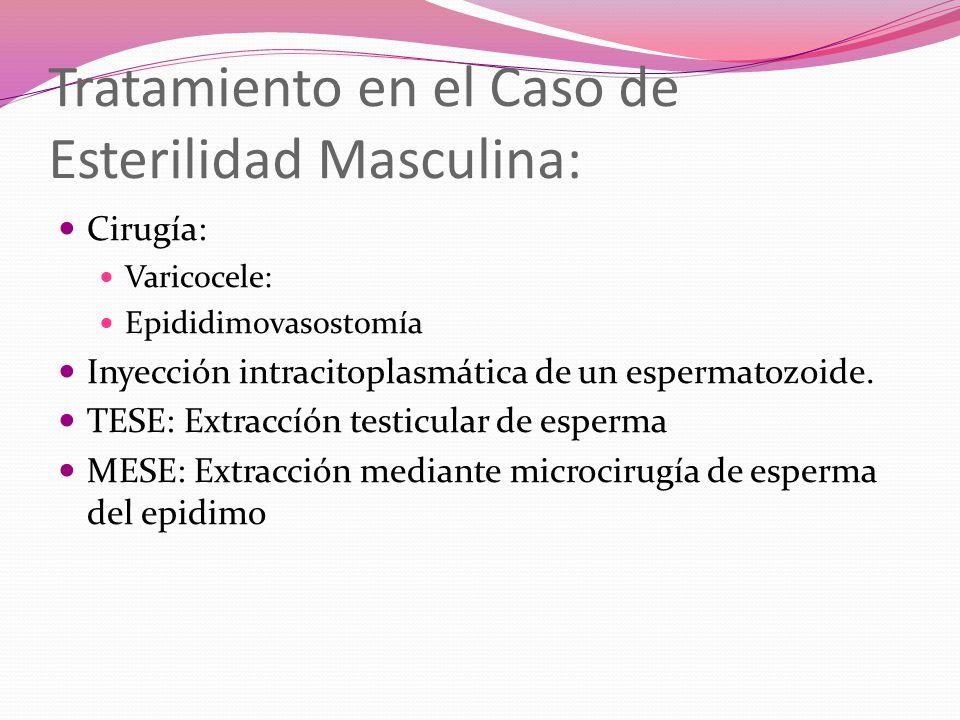 Tratamiento en el Caso de Esterilidad Masculina: Cirugía: Varicocele: Epididimovasostomía Inyección intracitoplasmática de un espermatozoide. TESE: Ex