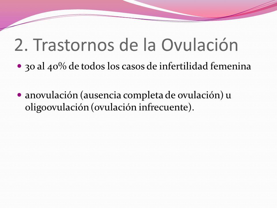 2. Trastornos de la Ovulación 30 al 40% de todos los casos de infertilidad femenina anovulación (ausencia completa de ovulación) u oligoovulación (ovu