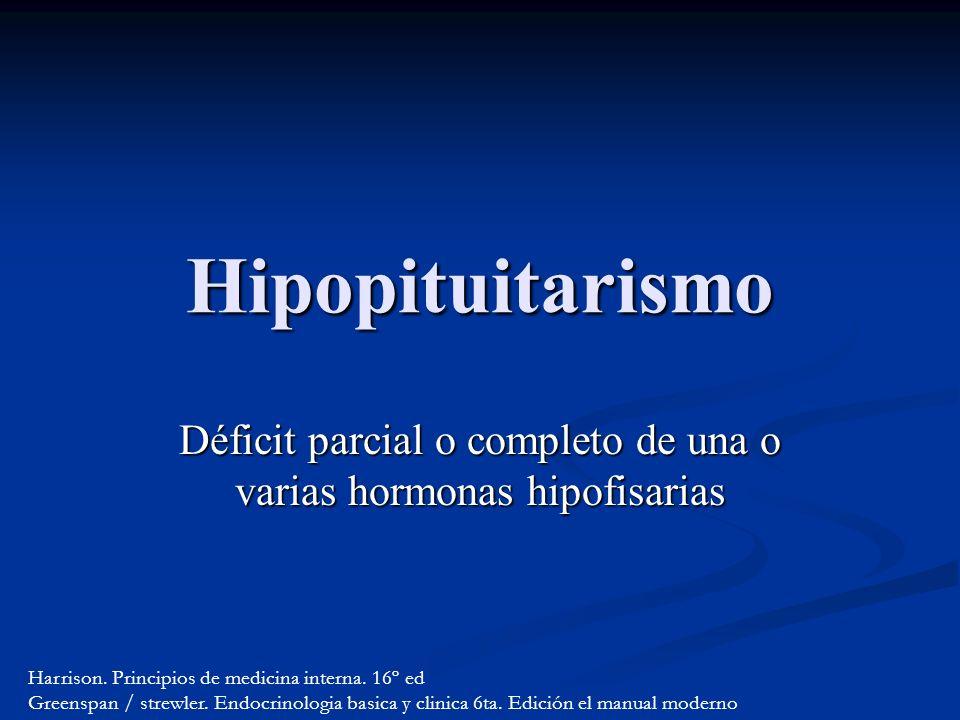 Hipopituitarismo Déficit parcial o completo de una o varias hormonas hipofisarias Harrison.