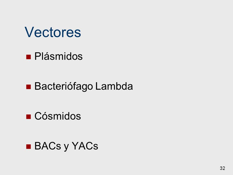 32 Vectores Plásmidos Bacteriófago Lambda Cósmidos BACs y YACs