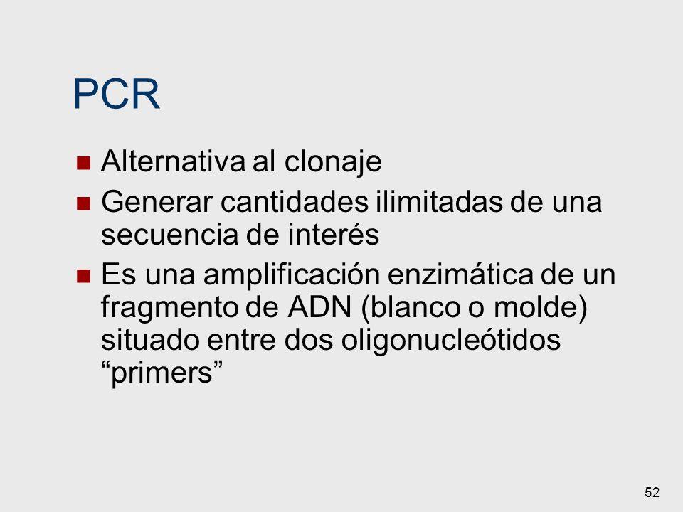 52 PCR Alternativa al clonaje Generar cantidades ilimitadas de una secuencia de interés Es una amplificación enzimática de un fragmento de ADN (blanco