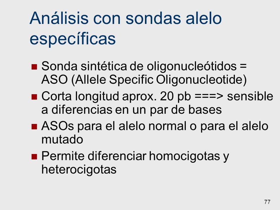 77 Análisis con sondas alelo específicas Sonda sintética de oligonucleótidos = ASO (Allele Specific Oligonucleotide) Corta longitud aprox. 20 pb ===>