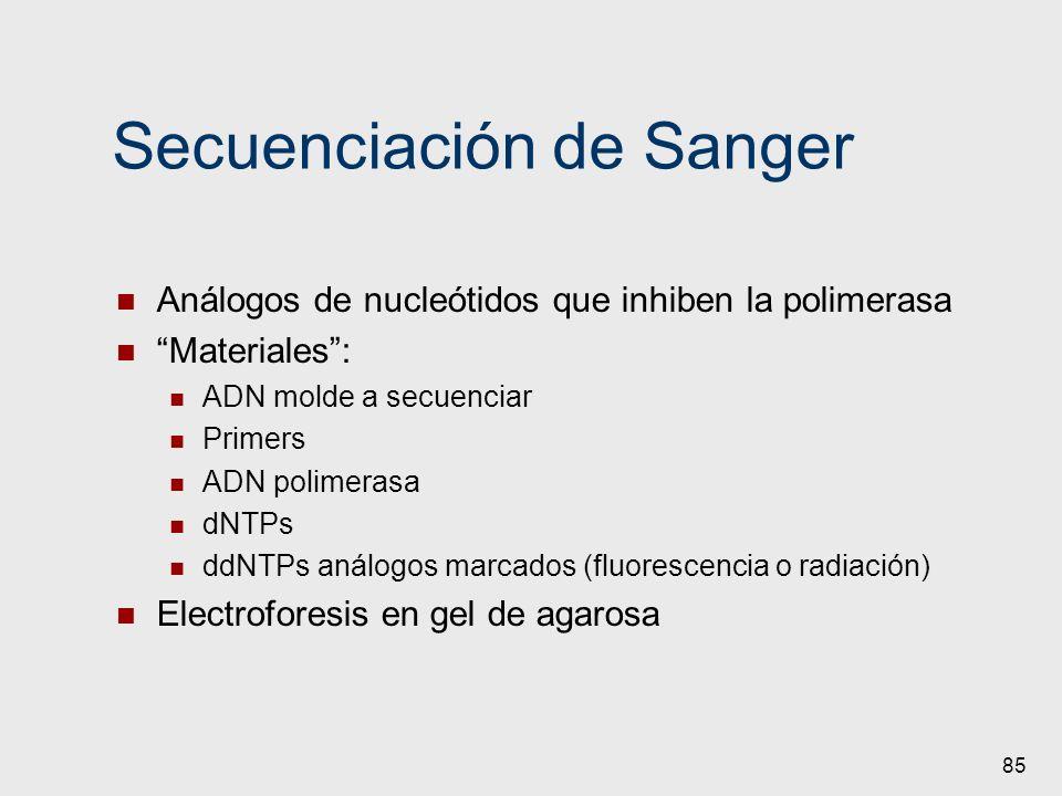 85 Secuenciación de Sanger Análogos de nucleótidos que inhiben la polimerasa Materiales: ADN molde a secuenciar Primers ADN polimerasa dNTPs ddNTPs an