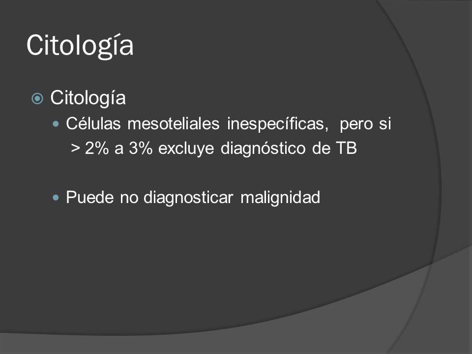 Citología Células mesoteliales inespecíficas, pero si > 2% a 3% excluye diagnóstico de TB Puede no diagnosticar malignidad