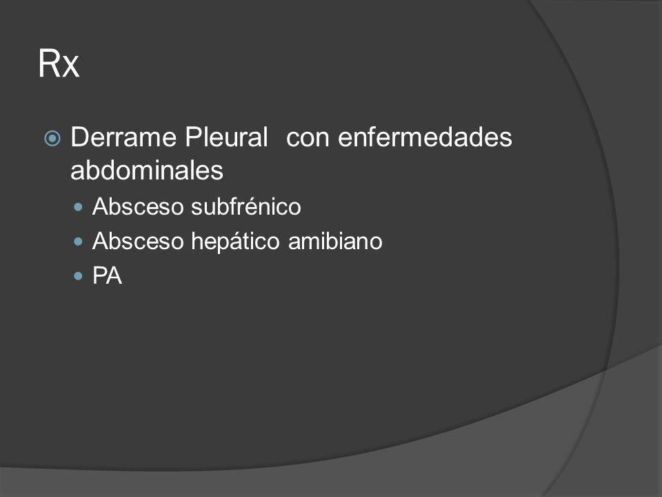 Rx Derrame Pleural con enfermedades abdominales Absceso subfrénico Absceso hepático amibiano PA