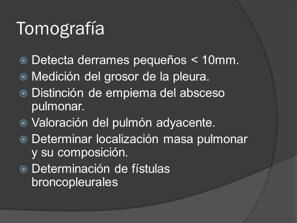 Tomografía Detecta derrames pequeños < 10mm. Medición del grosor de la pleura. Distinción de empiema del absceso pulmonar. Valoración del pulmón adyac