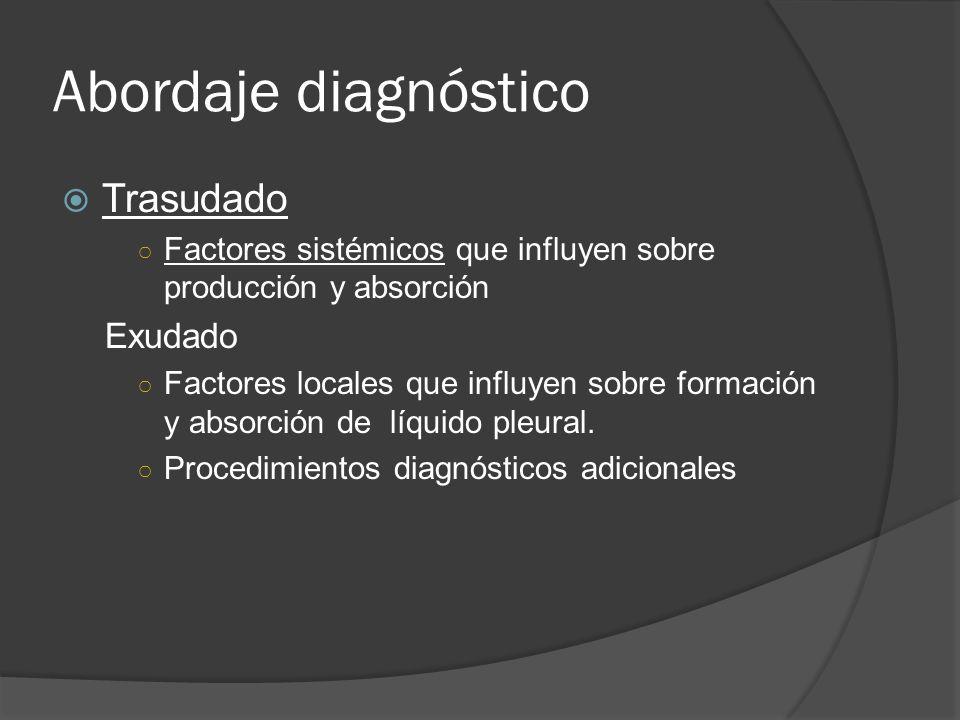 Abordaje diagnóstico Trasudado Factores sistémicos que influyen sobre producción y absorción Exudado Factores locales que influyen sobre formación y a