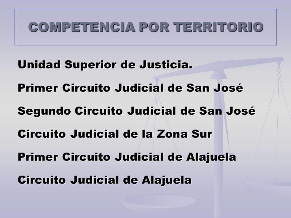 COMPETENCIA POR TERRITORIO Unidad Superior de Justicia. Primer Circuito Judicial de San José Segundo Circuito Judicial de San José Circuito Judicial d