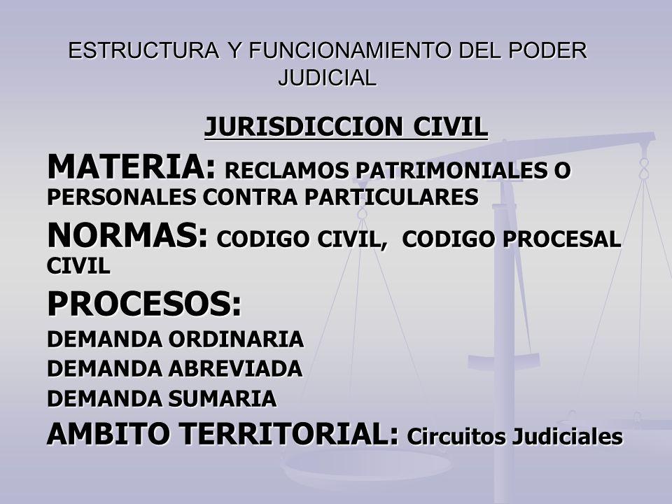 ESTRUCTURA Y FUNCIONAMIENTO DEL PODER JUDICIAL JURISDICCION CIVIL MATERIA: RECLAMOS PATRIMONIALES O PERSONALES CONTRA PARTICULARES NORMAS: CODIGO CIVI