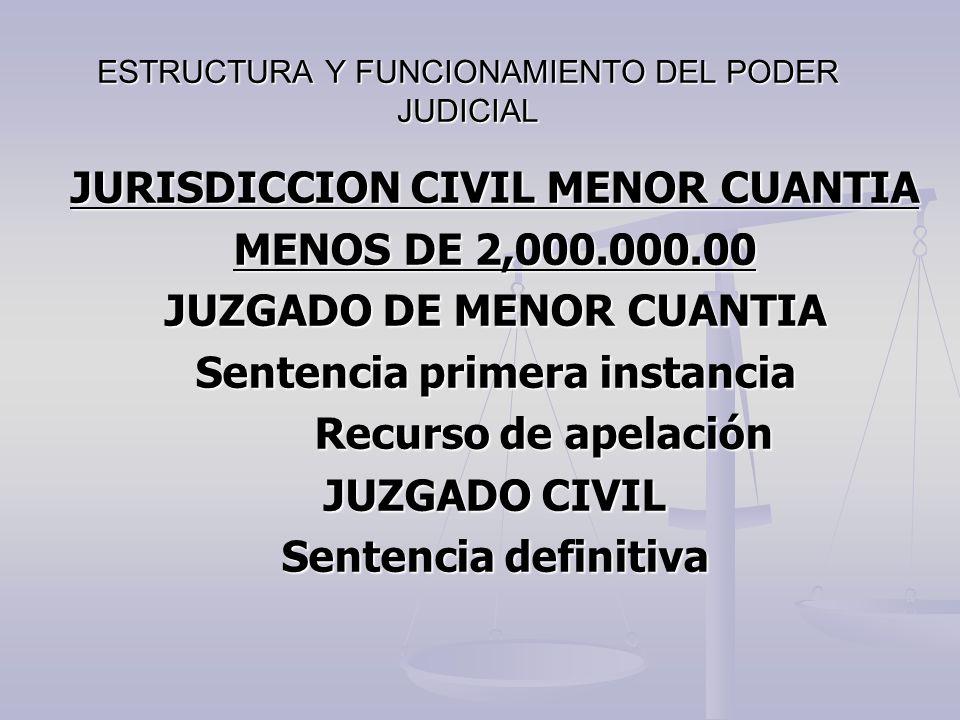 ESTRUCTURA Y FUNCIONAMIENTO DEL PODER JUDICIAL JURISDICCION CIVIL MENOR CUANTIA MENOS DE 2,000.000.00 JUZGADO DE MENOR CUANTIA Sentencia primera insta