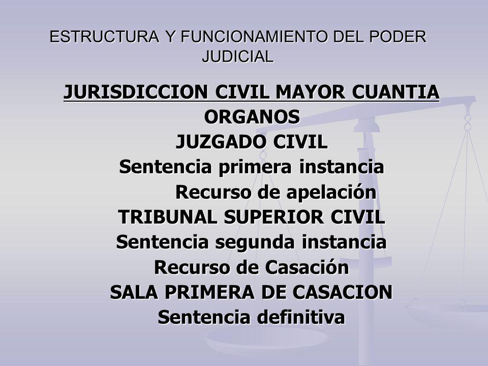 ESTRUCTURA Y FUNCIONAMIENTO DEL PODER JUDICIAL JURISDICCION CIVIL MAYOR CUANTIA ORGANOS JUZGADO CIVIL Sentencia primera instancia Recurso de apelación