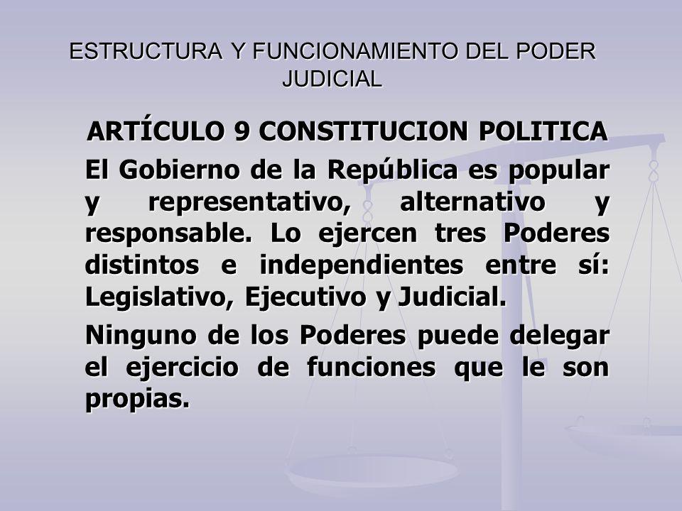 ESTRUCTURA Y FUNCIONAMIENTO DEL PODER JUDICIAL ARTÍCULO 9 CONSTITUCION POLITICA El Gobierno de la República es popular y representativo, alternativo y