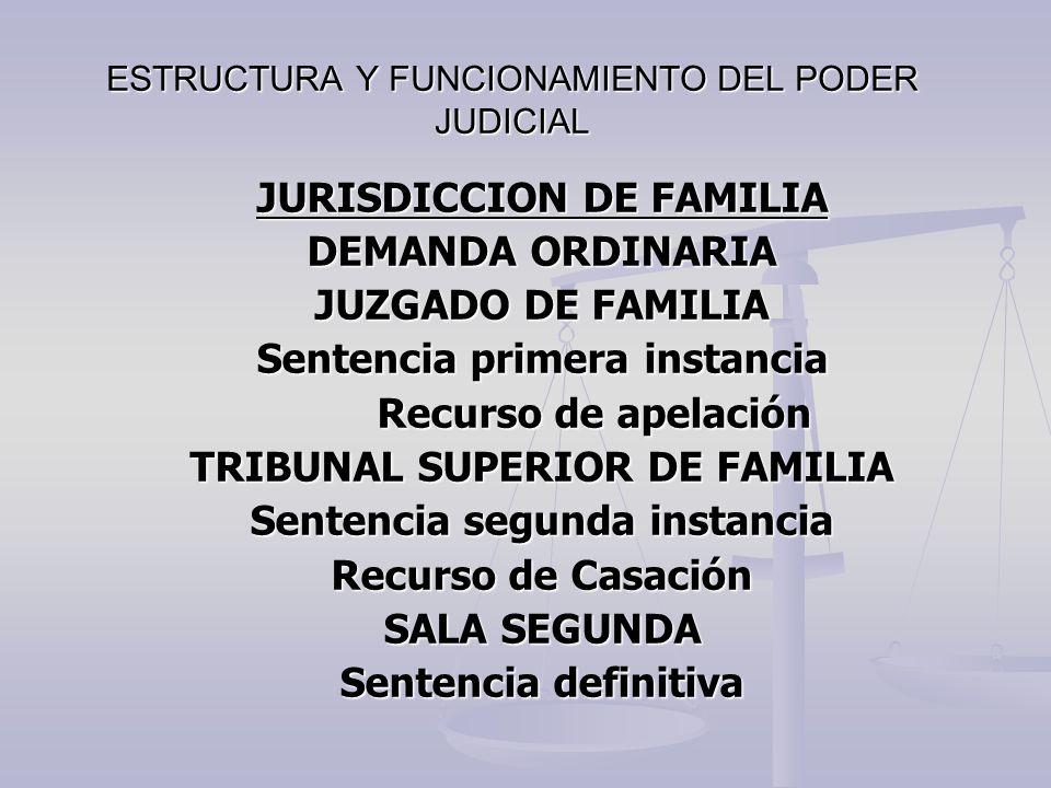 ESTRUCTURA Y FUNCIONAMIENTO DEL PODER JUDICIAL JURISDICCION DE FAMILIA DEMANDA ORDINARIA JUZGADO DE FAMILIA Sentencia primera instancia Recurso de ape