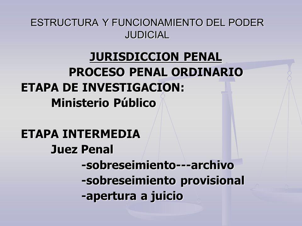 ESTRUCTURA Y FUNCIONAMIENTO DEL PODER JUDICIAL JURISDICCION PENAL PROCESO PENAL ORDINARIO ETAPA DE INVESTIGACION: Ministerio Público ETAPA INTERMEDIA