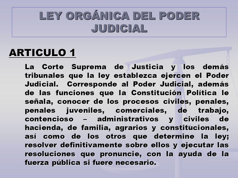 LEY ORGÁNICA DEL PODER JUDICIAL ARTICULO 1 La Corte Suprema de Justicia y los demás tribunales que la ley establezca ejercen el Poder Judicial. Corres