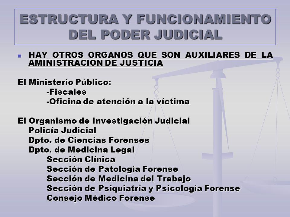 ESTRUCTURA Y FUNCIONAMIENTO DEL PODER JUDICIAL HAY OTROS ORGANOS QUE SON AUXILIARES DE LA AMINISTRACION DE JUSTICIA HAY OTROS ORGANOS QUE SON AUXILIAR