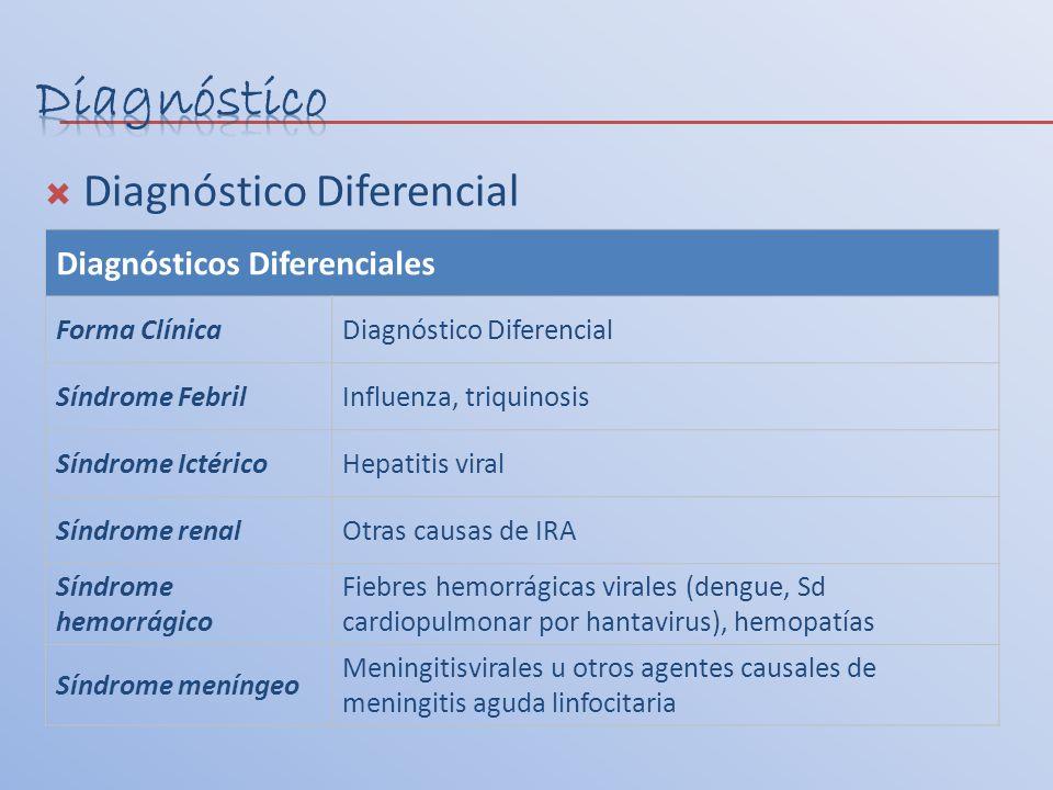 Diagnóstico Diferencial Diagnósticos Diferenciales Forma ClínicaDiagnóstico Diferencial Síndrome FebrilInfluenza, triquinosis Síndrome IctéricoHepatit