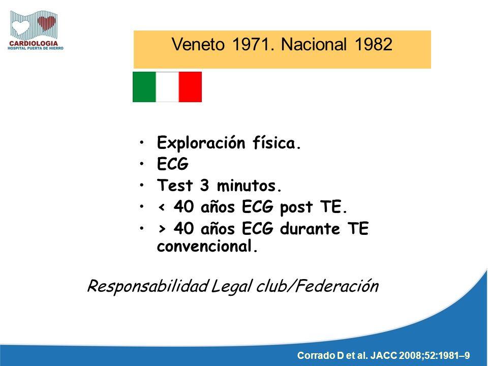 Exploración física. ECG Test 3 minutos. < 40 años ECG post TE. > 40 años ECG durante TE convencional. Veneto 1971. Nacional 1982 Corrado D et al. JACC