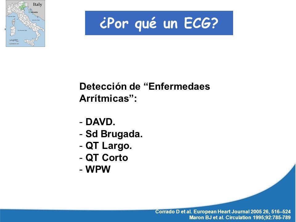 Corrado D et al. European Heart Journal 2005 26, 516–524 Maron BJ et al. Circulation 1995;92:785-789 ¿Por qué un ECG? Detección de Enfermedaes Arrítmi