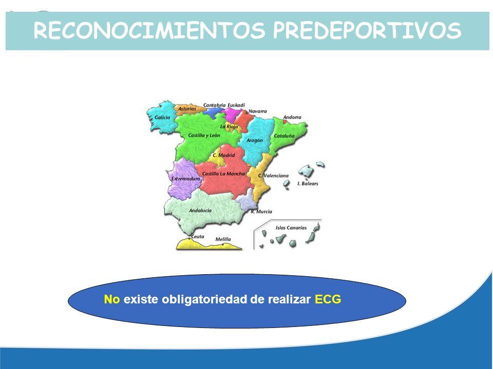 RECONOCIMIENTOS PREDEPORTIVOS No existe obligatoriedad de realizar ECG