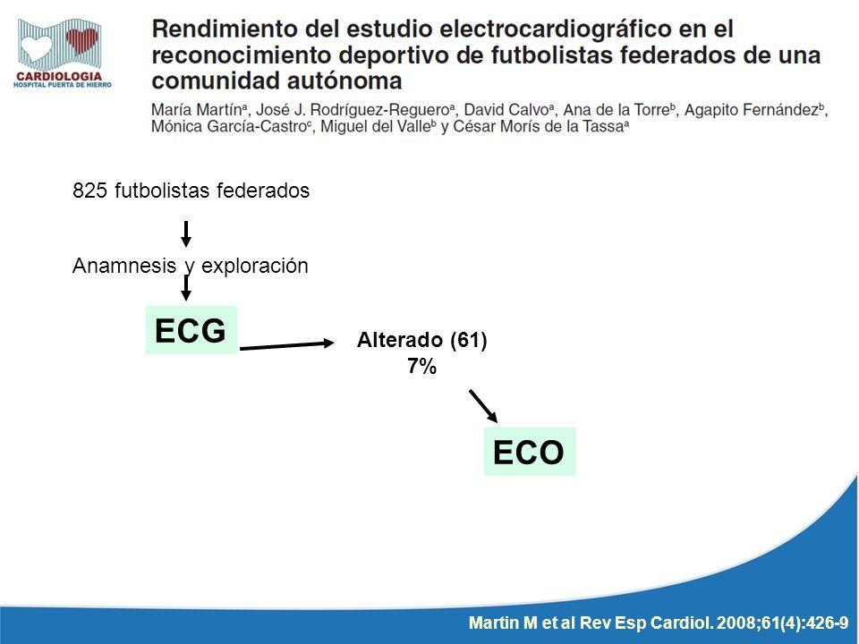 825 futbolistas federados Anamnesis y exploración ECG Alterado (61) 7% ECO Martin M et al Rev Esp Cardiol. 2008;61(4):426-9