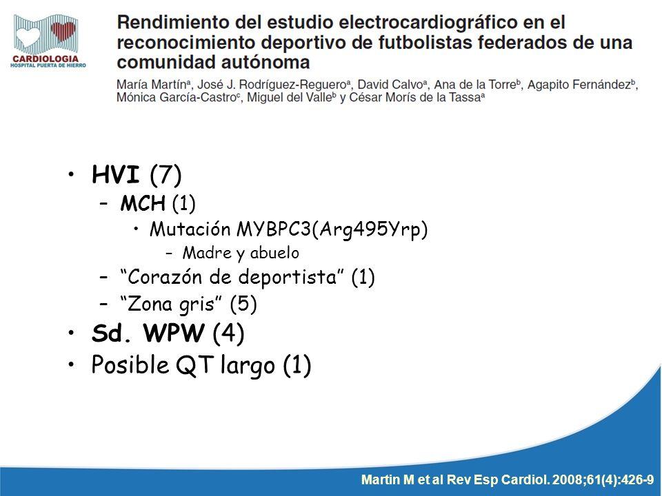 ECG Alterado (61) 7% ECO HVI (7) –MCH (1) Mutación MYBPC3(Arg495Yrp) –Madre y abuelo –Corazón de deportista (1) –Zona gris (5) Sd. WPW (4) Posible QT