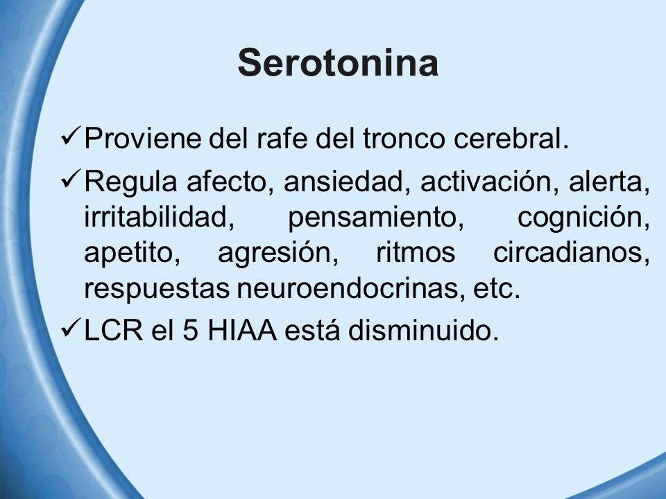 Serotonina Proviene del rafe del tronco cerebral. Regula afecto, ansiedad, activación, alerta, irritabilidad, pensamiento, cognición, apetito, agresió