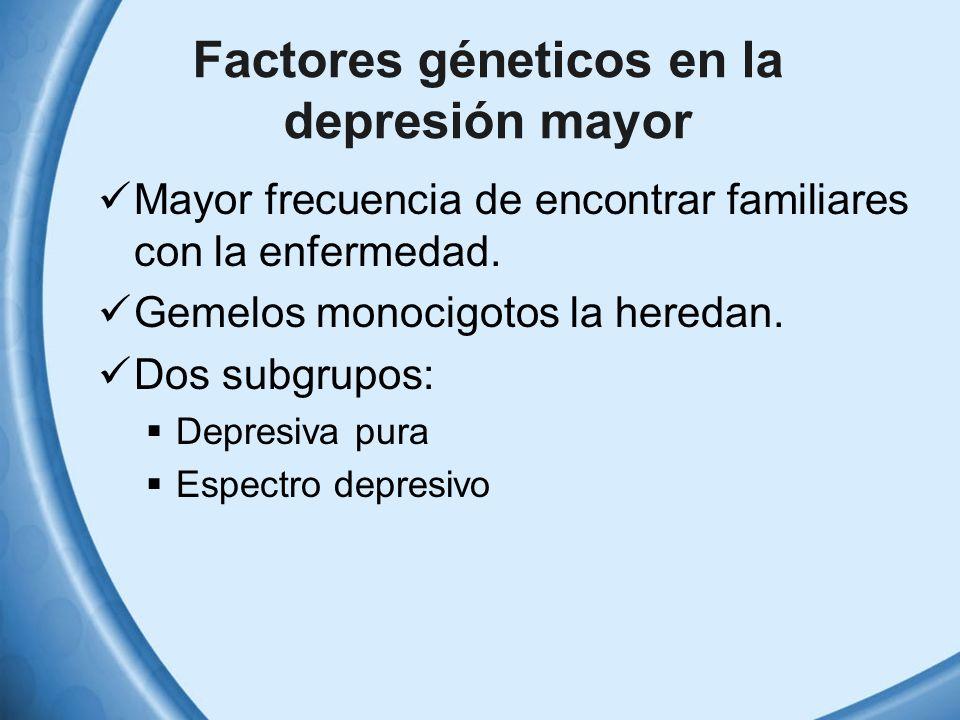 Factores géneticos en la depresión mayor Mayor frecuencia de encontrar familiares con la enfermedad. Gemelos monocigotos la heredan. Dos subgrupos: De