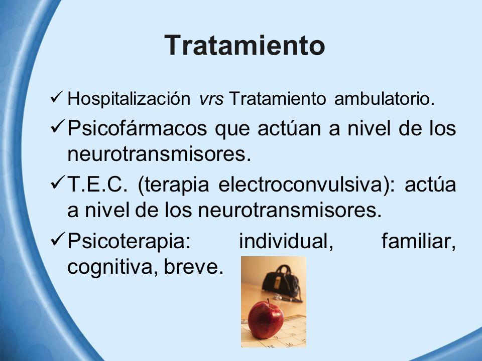 Tratamiento Hospitalización vrs Tratamiento ambulatorio. Psicofármacos que actúan a nivel de los neurotransmisores. T.E.C. (terapia electroconvulsiva)