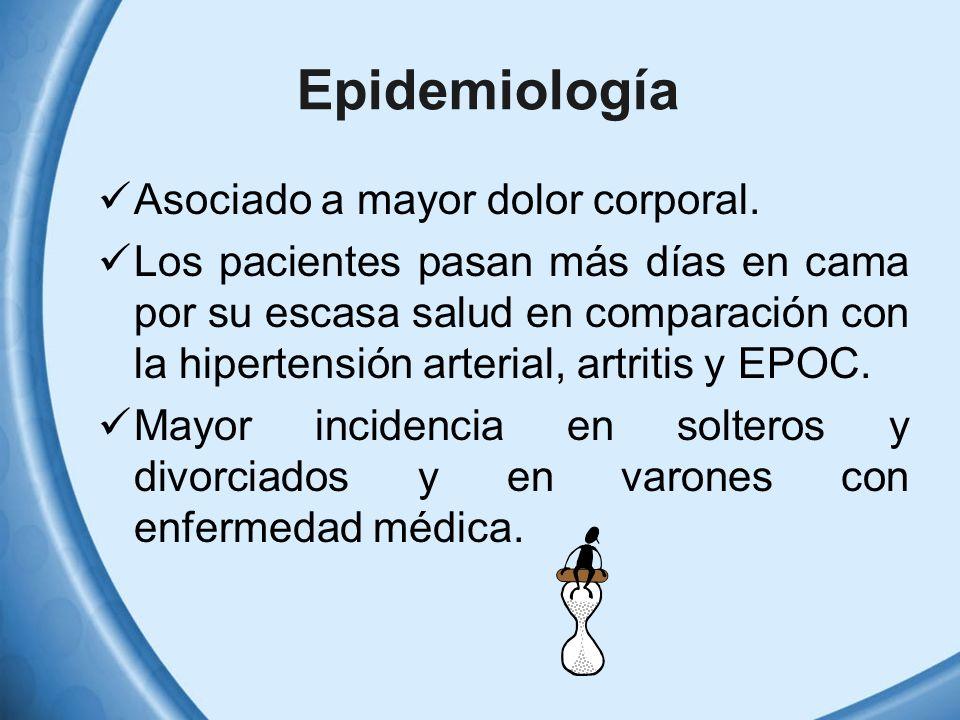 Epidemiología Asociado a mayor dolor corporal. Los pacientes pasan más días en cama por su escasa salud en comparación con la hipertensión arterial, a