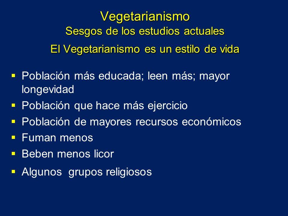 Vegetarianismo Sesgos de los estudios actuales El Vegetarianismo es un estilo de vida Población más educada; leen más; mayor longevidad Población que