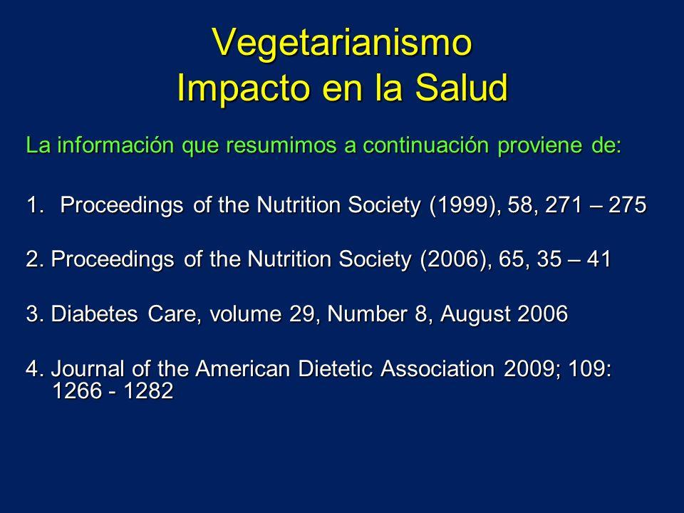 Vegetarianismo Impacto en la Salud La información que resumimos a continuación proviene de: 1.Proceedings of the Nutrition Society (1999), 58, 271 – 2