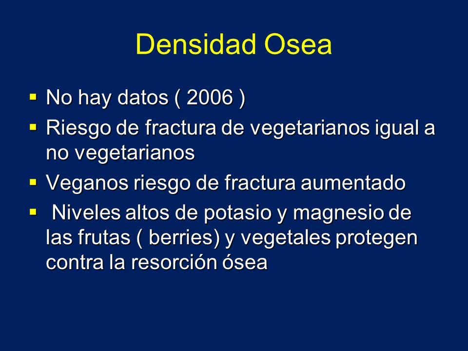 Densidad Osea No hay datos ( 2006 ) No hay datos ( 2006 ) Riesgo de fractura de vegetarianos igual a no vegetarianos Riesgo de fractura de vegetariano