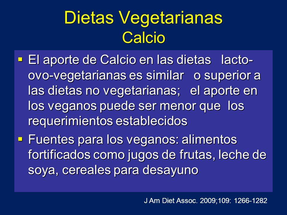 Dietas Vegetarianas Calcio El aporte de Calcio en las dietas lacto- ovo-vegetarianas es similar o superior a las dietas no vegetarianas; el aporte en