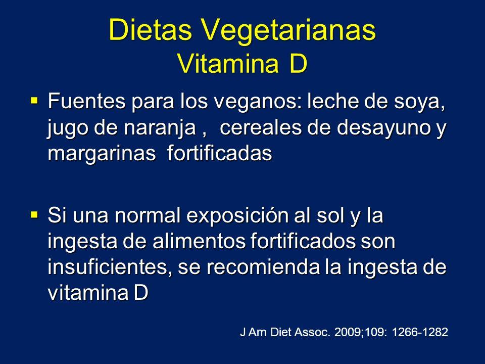 Dietas Vegetarianas Vitamina D Fuentes para los veganos: leche de soya, jugo de naranja, cereales de desayuno y margarinas fortificadas Fuentes para l