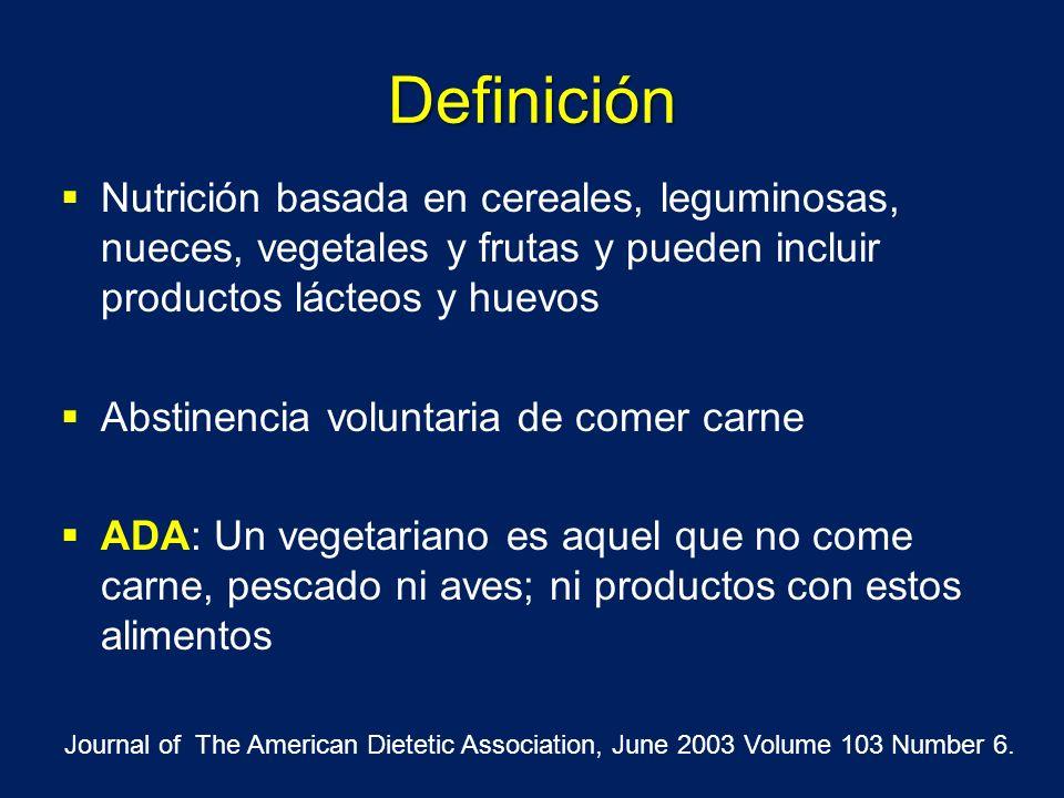 Definición Nutrición basada en cereales, leguminosas, nueces, vegetales y frutas y pueden incluir productos lácteos y huevos Abstinencia voluntaria de
