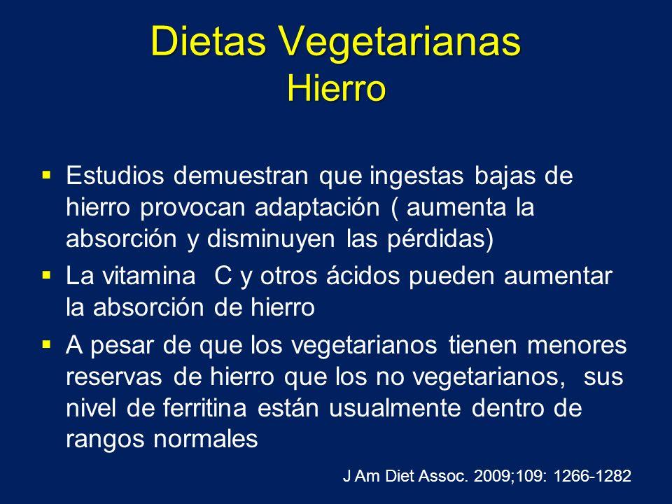 Dietas Vegetarianas Hierro Estudios demuestran que ingestas bajas de hierro provocan adaptación ( aumenta la absorción y disminuyen las pérdidas) La v