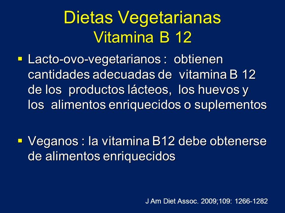 Dietas Vegetarianas Vitamina B 12 Lacto-ovo-vegetarianos : obtienen cantidades adecuadas de vitamina B 12 de los productos lácteos, los huevos y los a