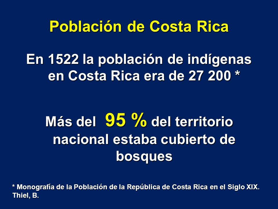 Población de Costa Rica En 1522 la población de indígenas en Costa Rica era de 27 200 * Más del 95 % del territorio nacional estaba cubierto de bosque