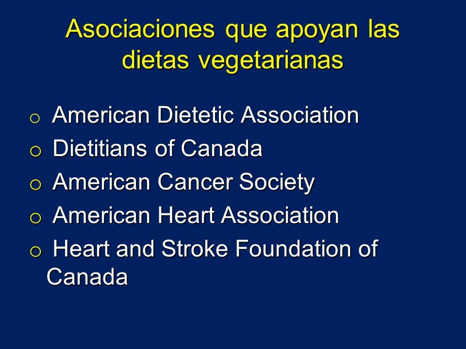Asociaciones que apoyan las dietas vegetarianas American Dietetic Association o American Dietetic Association o Dietitians of Canada o American Cancer