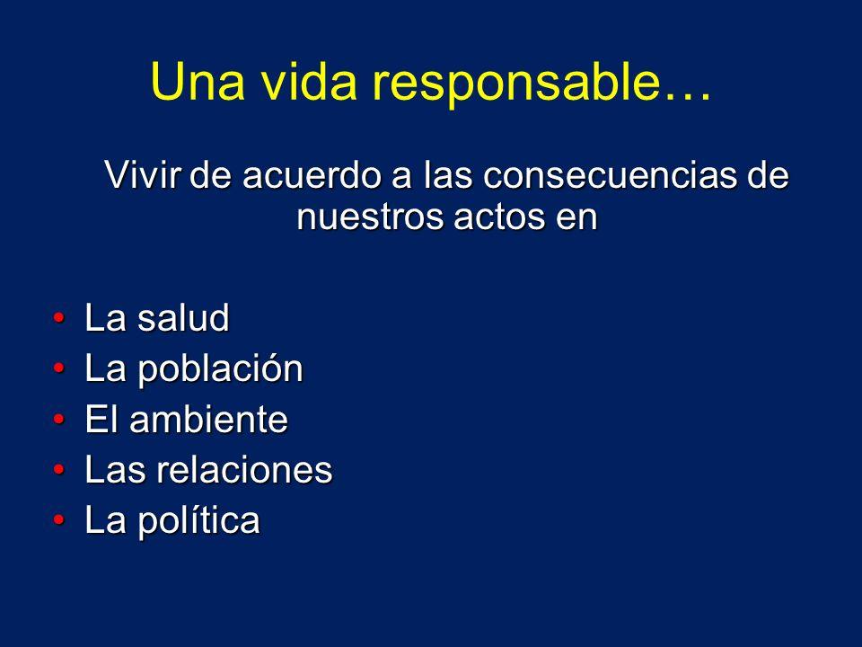 Una vida responsable… Vivir de acuerdo a las consecuencias de nuestros actos en La saludLa salud La poblaciónLa población El ambienteEl ambiente Las r