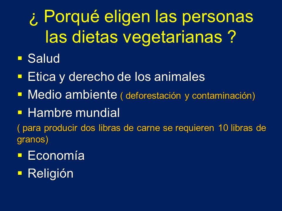 ¿ Porqué eligen las personas las dietas vegetarianas ? Salud Salud Etica y derecho de los animales Etica y derecho de los animales Medio ambiente ( de