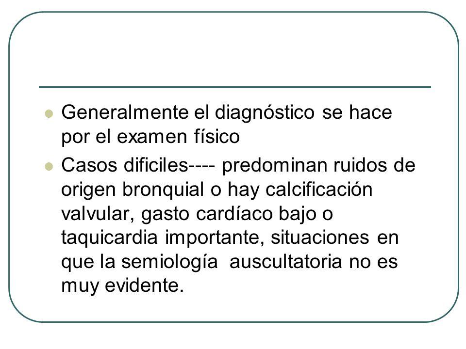 Generalmente el diagnóstico se hace por el examen físico Casos dificiles---- predominan ruidos de origen bronquial o hay calcificación valvular, gasto