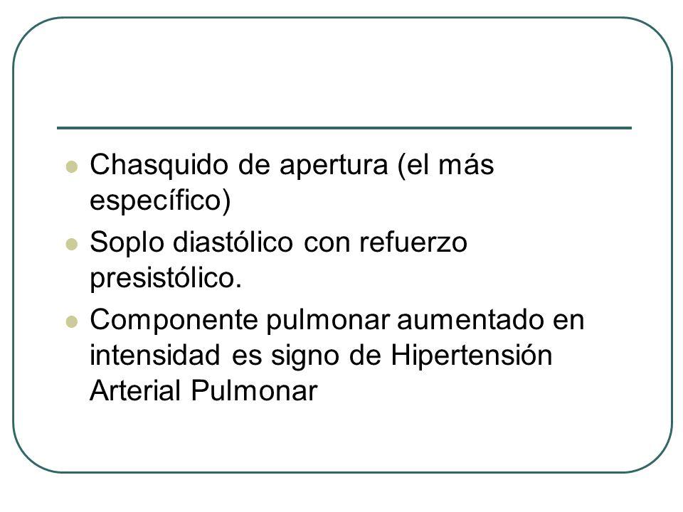 Chasquido de apertura (el más específico) Soplo diastólico con refuerzo presistólico. Componente pulmonar aumentado en intensidad es signo de Hiperten