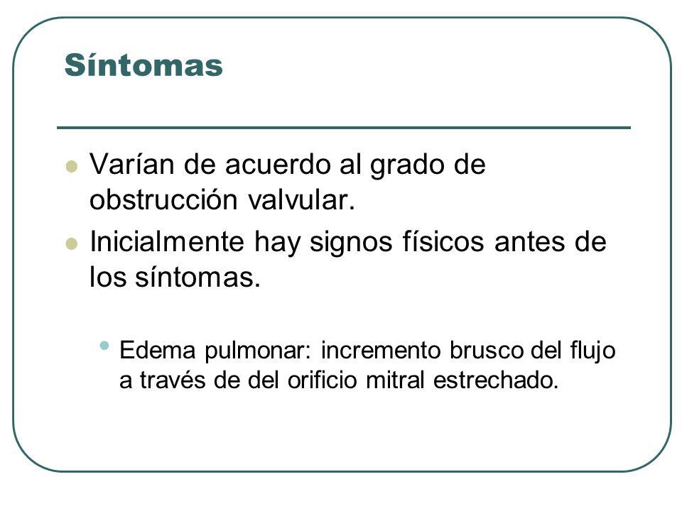 Síntomas Varían de acuerdo al grado de obstrucción valvular. Inicialmente hay signos físicos antes de los síntomas. Edema pulmonar: incremento brusco